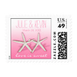 Starfish Couple On The Beach   ombre pink Postage Stamp