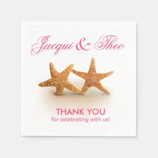 Starfish Couple on the Beach Party | fuchsia Napkin