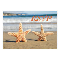 Starfish Couple on the Beach RSVP Card