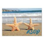"""Starfish Couple on the Beach RSVP Card 3.5"""" X 5"""" Invitation Card"""