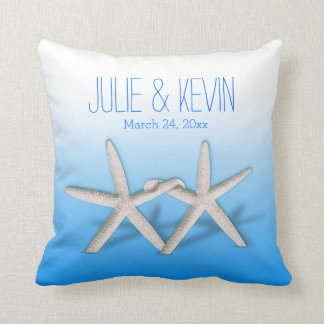Starfish Couple On The Beach Signature ombre blue Pillows