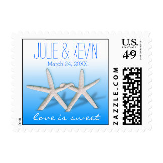 Starfish Couple On The Beach Signature ombre blue Postage