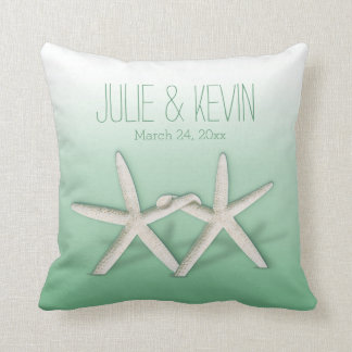 Starfish Couple On The Beach Signature ombre mint Pillows
