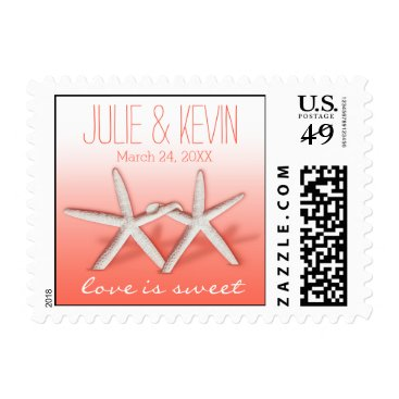 Beach Themed Starfish Couple On The Beach Signature ombre peach Postage
