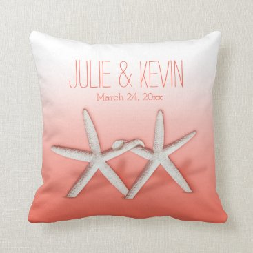 Beach Themed Starfish Couple On The Beach Signature ombre peach Throw Pillow