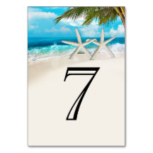 Starfish Couple On the Beach Table Numbers Table Card