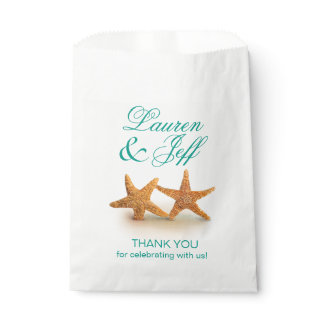 Starfish Couple on the Beach Wedding Favor Bag