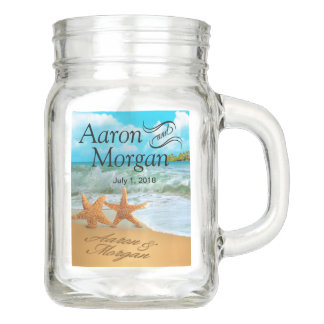 Starfish Couple on the Beach Wedding Mason Jar
