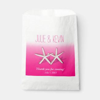 Starfish Couple On The Beach Wedding ombre fuchsia Favor Bag
