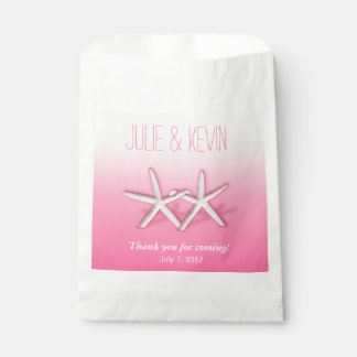 Starfish Couple On The Beach Wedding ombre pink Favor Bag