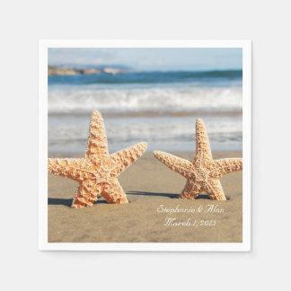 Starfish Couple on the Beach Wedding Paper Napkins
