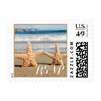 Starfish Couple on the Beach Wedding Postage