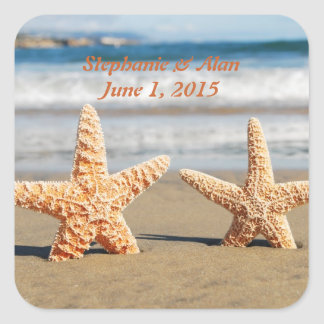 Starfish Couple on the Beach Wedding Stickers