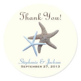 Starfish Couple Round Thank You Stickers