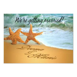 Starfish Couple Save the Date Beach Theme Card