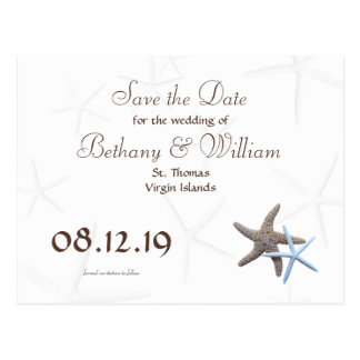 Starfish Couple Save the Date Postcards