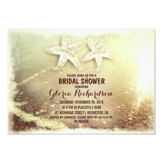 Starfish couple & sea foam beach bridal shower card
