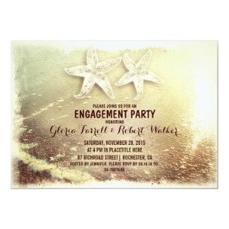 Starfish couple & sea foam beach engagement party card