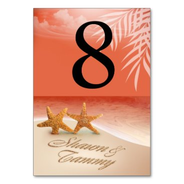 Beach Themed Starfish Couple Table Numbers ASK 4 NAMES IN SAND Card