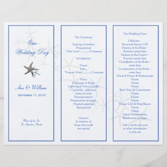 starfish couple tri fold wedding program template zazzle com