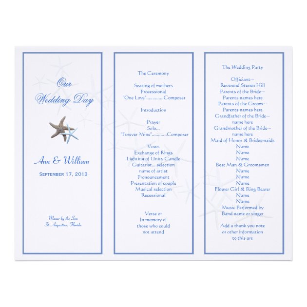 Starfish Couple Tri-Fold Wedding Program Template | Zazzle