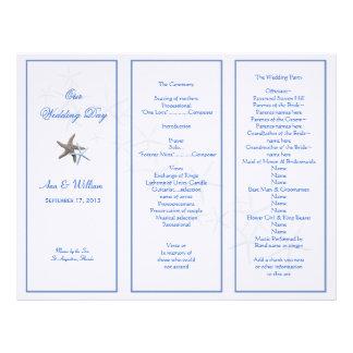 Starfish Couple Tri-Fold Wedding Program Template Letterhead Design
