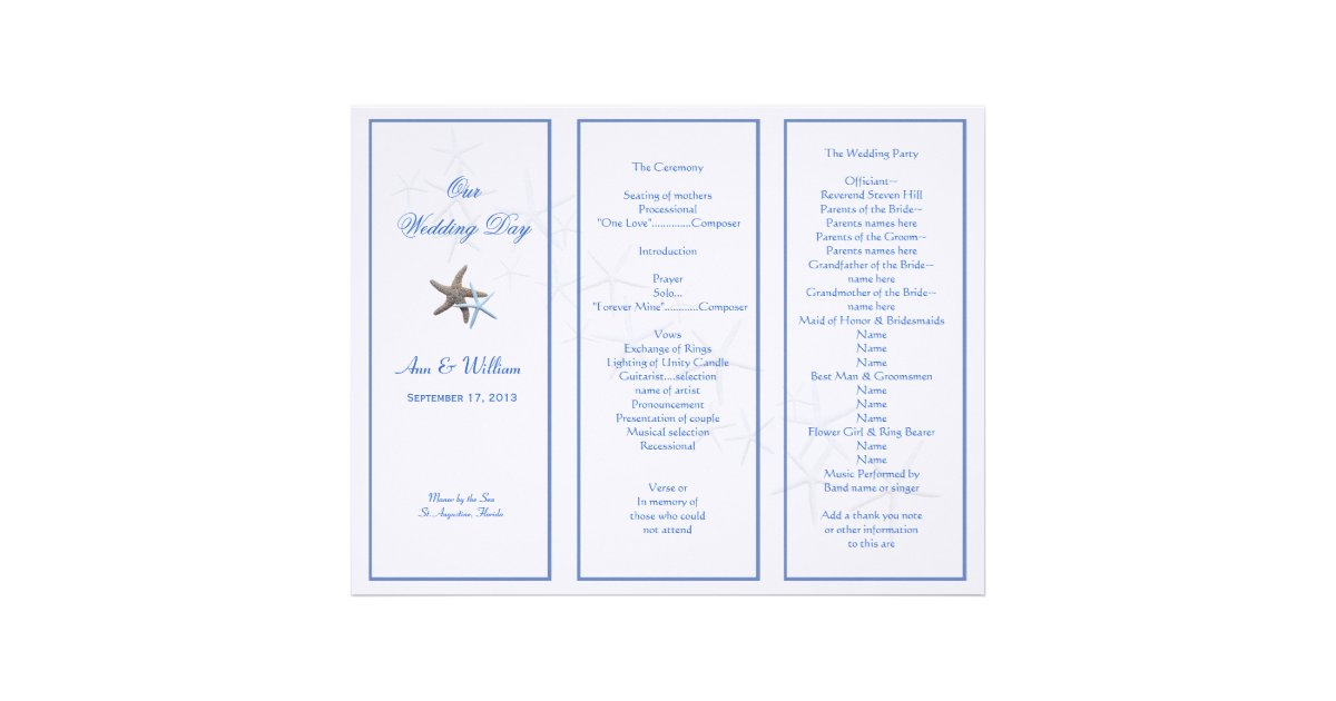 Starfish Couple Tri Fold Wedding Program Template Letterhead