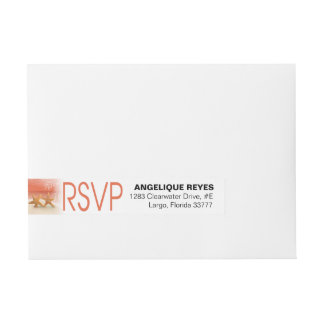 Starfish Couple Tropical Beach RSVP | coral Wrap Around Address Label