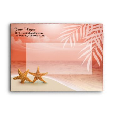Beach Themed Starfish Couple Tropical Sandy Beach | coral Envelope