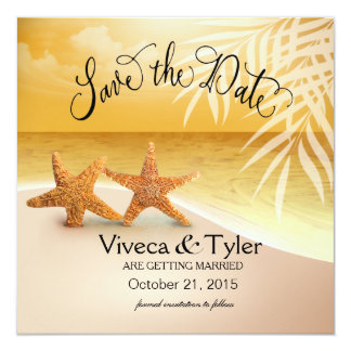 Starfish Couple Tropical Save the Date | gold Card
