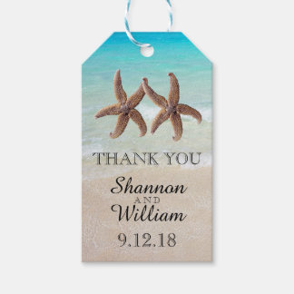 Starfish Couple Tropical Wedding Thank You Gift Tags
