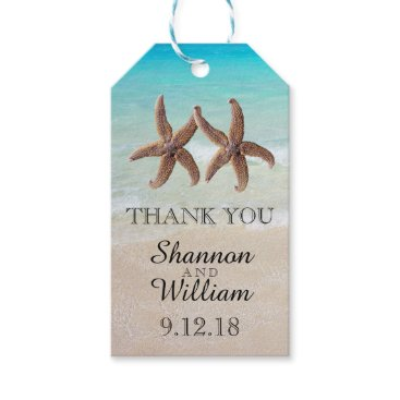 Beach Themed Starfish Couple Tropical Wedding Thank You Gift Tags