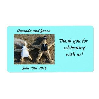 Starfish Couple Wedding Favor Labels