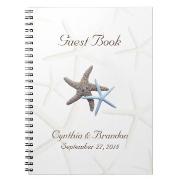 Beach Themed Starfish Couple Wedding Guestbook Notebook