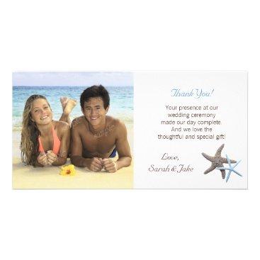 Beach Themed Starfish Couple Wedding Photo Thank You Cards