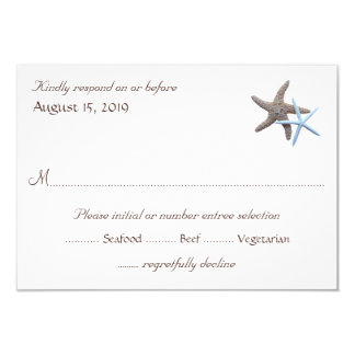 Starfish Couple White Reply Cards With Menu