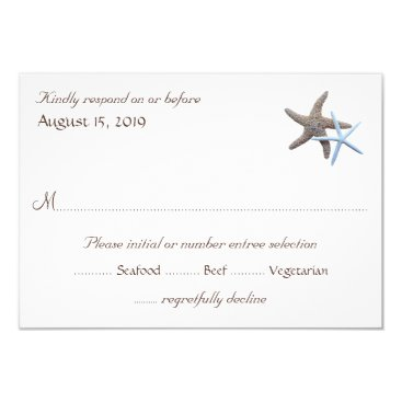 sandpiperwedding Starfish Couple White Reply Cards With Menu