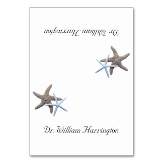 Starfish Couple White Tented Place Cards