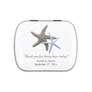 Starfish Couple White Wedding Favor Mint Tin Jelly Belly Candy Tins
