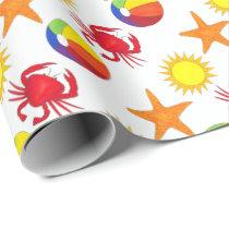 Starfish Crab Beachball Sun Surf Beach Ocean Wrapping Paper