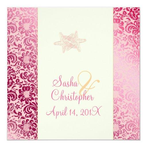 "Starfish + damask Wedding Invitations 5.25"" Square Invitation Card"