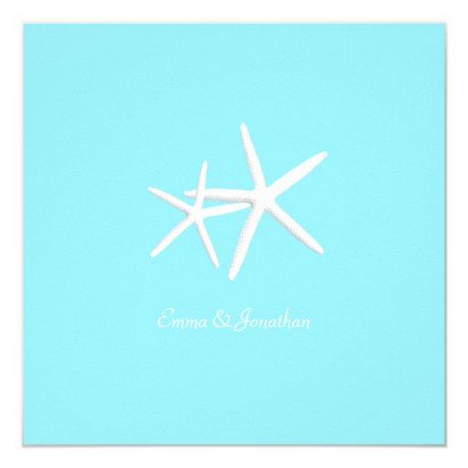 Starfish Decorated Aqua Beach Wedding Invitations