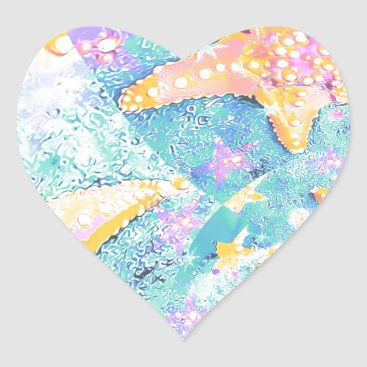 Beach Themed Starfish Design Heart Sticker