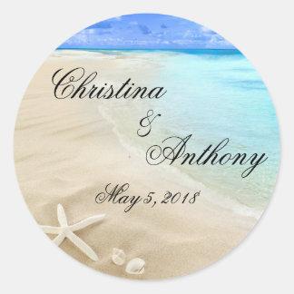 Starfish Destination Beach Wedding Favors Labels Classic Round Sticker