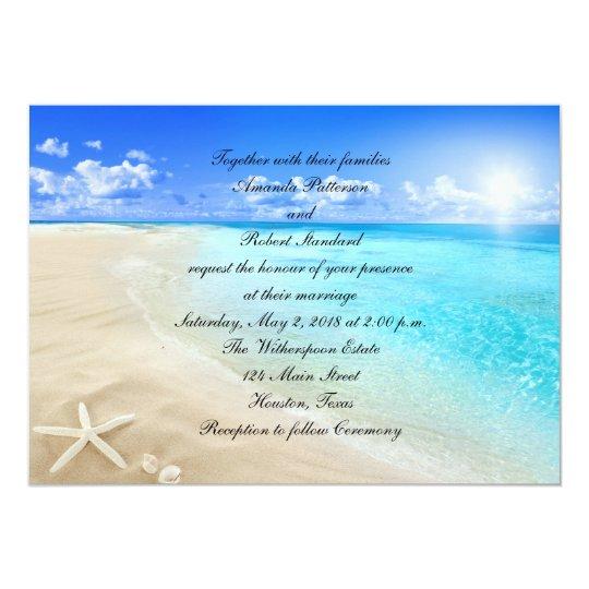 Starfish Destination Beach Wedding Invitation Zazzle Com