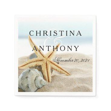 Beach Themed Starfish Destination Beach Wedding Napkin