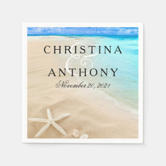 Starfish Destination Beach Wedding Napkin
