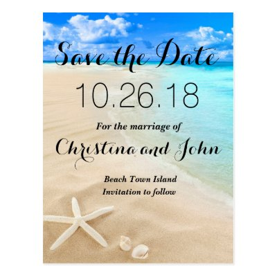 Beach With Starfish Save the Date Card Zazzle