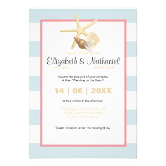 Starfish Destination Wedding Modern Stripe Custom Invitation