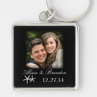 Starfish Destination Wedding Photo Key Ring Favor Silver-Colored Square Keychain
